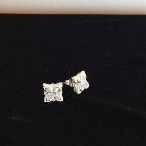 Jewelry - Swarovski crystal cut studs. Square. Sterling